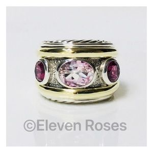 David Yurman 925 18k Morganite Renaissance Ring